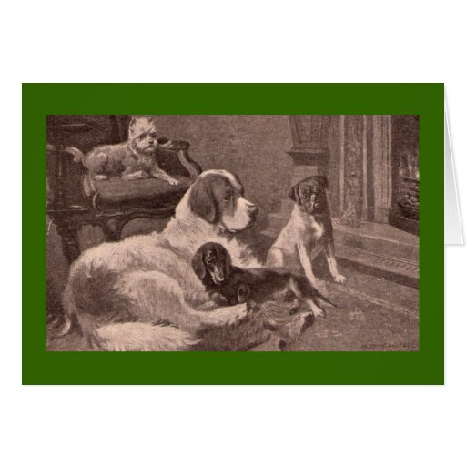 Four Dogs by the Fireside Greeting Card