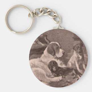 Four Dogs by the Fireside Keychain