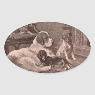 Four Dogs by the Fireside Oval Sticker