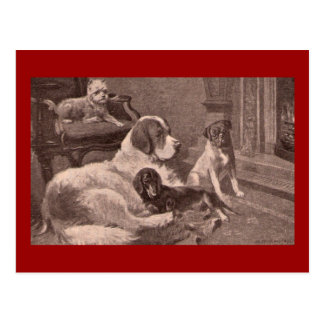 Four Dogs by the Fireside Postcard