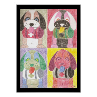 Four dogs kids room pop art poster