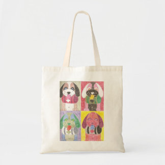 Four dogs small tote bag