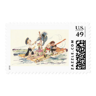 Four Dolls on a Raft at Sea Postage