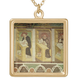 Four Dominican Monks at their Desks, from the cycl Square Pendant Necklace
