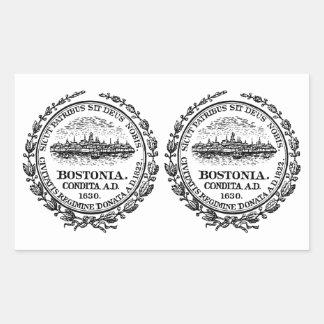 FOUR (Double) Boston Seal Rectangular Sticker