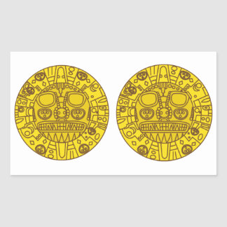 FOUR  Double Cuzco Coat of Arms Rectangular Sticker