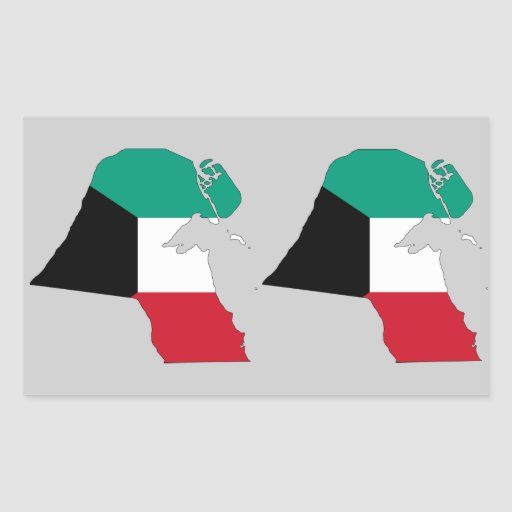 FOUR (Double) Kuwait Flag Map Rectangle Stickers