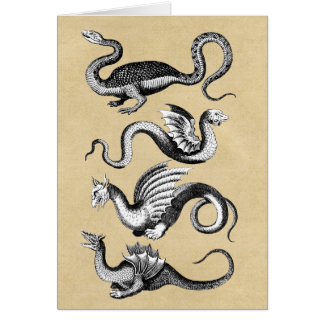 Four Dragons Mythological Creatures Sepia Card