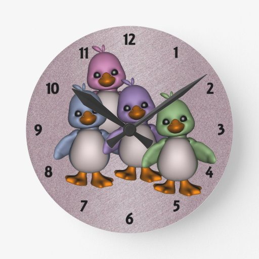 Four Ducks Childrens Learning Wall Clock