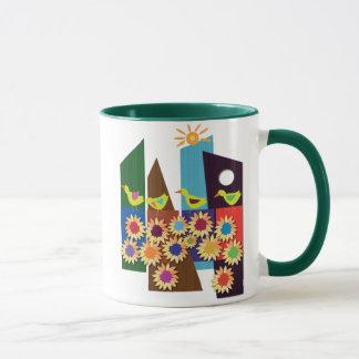 Four ducks in a summer holiday mug