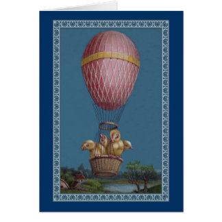 Four Easter Chicks in a Hot Air Balloon Card