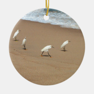 Four Egrets Ceramic Ornament