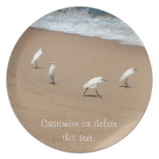 Four Egrets; Customizable Melamine Plate