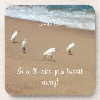 Four Egrets; Mexico Souvenir Drink Coaster