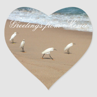 Four Egrets; Mexico Souvenir Heart Sticker