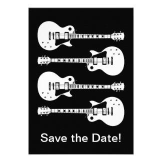 Four Electric Guitars in Black & White Custom Invites