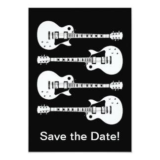 Four Electric Guitars in Black & White 5x7 Paper Invitation Card
