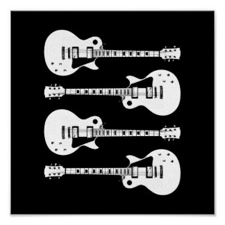 Four Electric Guitars in Black White Print