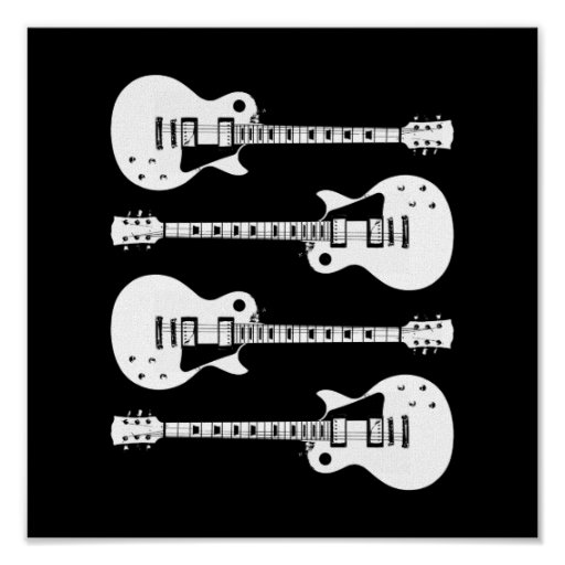 Four Electric Guitars in Black & White Print