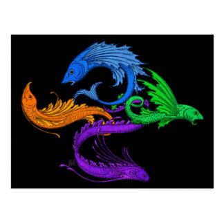 Four Elemental Flying Fish Postcard