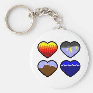 Four Elements Hearts Basic Round Button Keychain