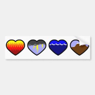 Four Elements Hearts Bumper Sticker