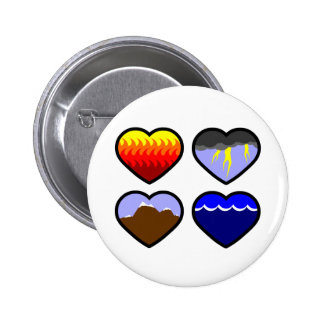 Four Elements Hearts Pinback Buttons