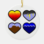 Four Elements Hearts Double-Sided Ceramic Round Christmas Ornament