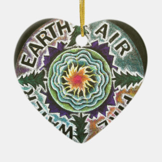 Four Elements Sun Mandala Double-Sided Heart Ceramic Christmas Ornament