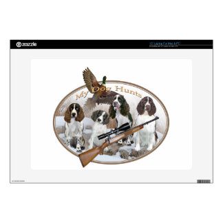 FOUR ENGLISH SPRINGER SPANIEL IN SNOW My Dog Hunts Laptop Decal