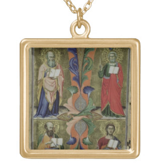 Four Evangelists, 14th century (vellum) Gold Plated Necklace