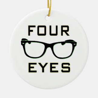 Four Eyes Double-Sided Ceramic Round Christmas Ornament