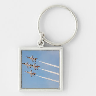 Four F-16 Thunderbirds fly in close formation Key Chain