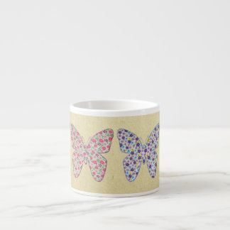 Four fabric butterflies 03 espresso cup
