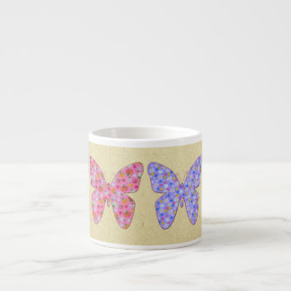 Four fabric butterflies 04 espresso cup