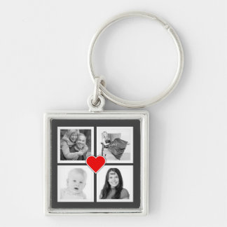 Four Family or Couple Instagram Photos with Heart Silver-Colored Square Keychain