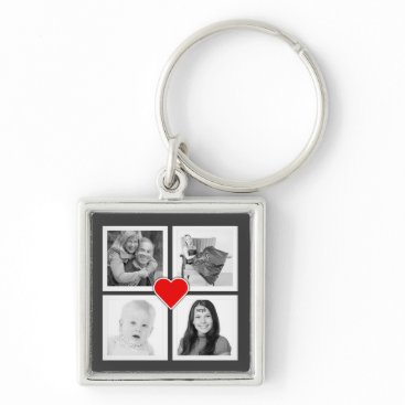 Valentines Themed Four Family or Couple Instagram Photos with Heart Keychain