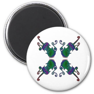 FOUR FANCY FIDDLES 2 INCH ROUND MAGNET