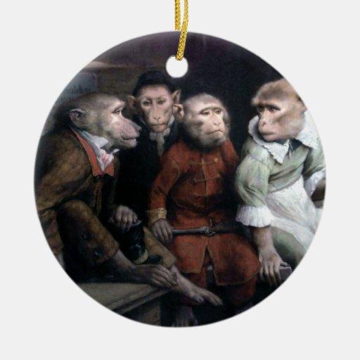 Four Fancy Monkeys Double-Sided Ceramic Round Christmas Ornament