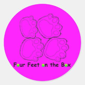 Four Feet on the Box Classic Round Sticker