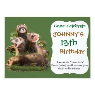 Four Ferrets in Their Wild Habitat 5x7 Paper Invitation Card