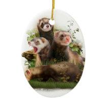 Four Ferrets in Their Wild Habitat Ceramic Ornament
