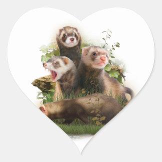 Four Ferrets in Their Wild Habitat Heart Sticker