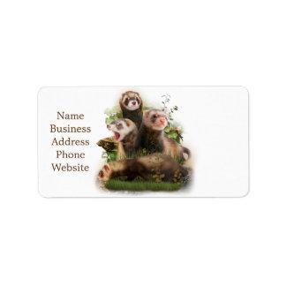 Four Ferrets in Their Wild Habitat Address Label