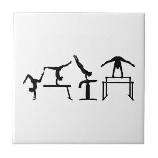 Four fight Quadrathlon Gymnastics Ceramic Tile