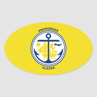 FOUR Flag of Anchorage Oval Sticker