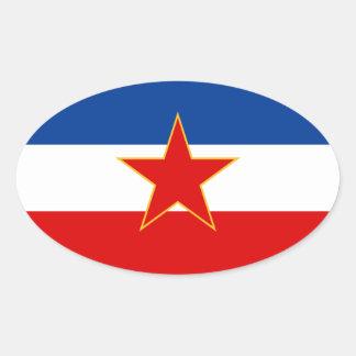 FOUR Flag of Yugoslavia (1945-1992) Stickers
