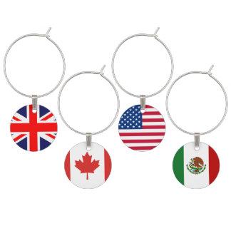 Four Flags Set Wine Glass Charm