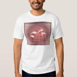 Four Flocking Flamingos Tee Shirt