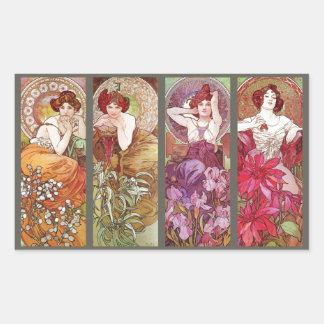 Four Floral Muchas Rectangular Sticker